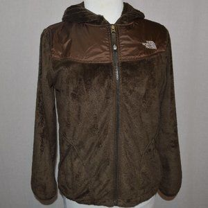 The North Face girl's furry brown hooded jacket